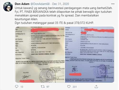 Cuitan dan laporan terkait PT. Finex Berjangka