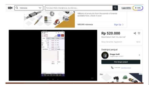 Tangkapan layar penawaran saham di lapak online